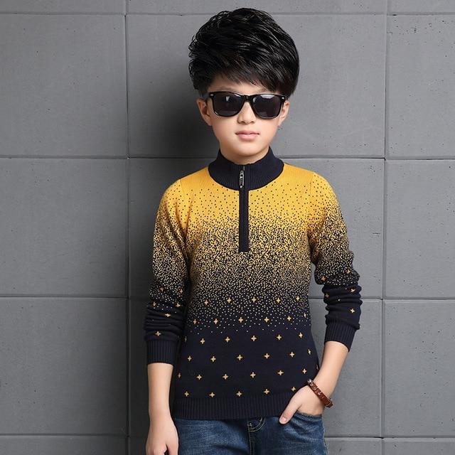 Gradiente Blusas Para Os Meninos Roupas Meninos Outono Inverno Gola Alta de Malha Blusas de Natal Crianças Malhas Tops 4 8 10 12 Anos