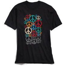 80s Men Tshirt Have A Peace Printing Tops T Shirt Custom Crewneck T-shirts Father Day Short Sleeve Vintage Black 100% Cotton Tee
