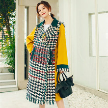 Autumn Winter Coats Women Green Plaid Tassel Patchwork Jackets for Fashion Contrast Color Long Caots