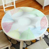 High end Round soft glass pvc tablecloth Waterproof and anti hot Table mat Round table plastic flower crystal plate table sheet