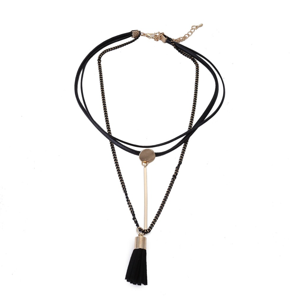 Fashion Black Leather Chain Double Chokers 2017 Collier Popular Neck Choker Necklace Women Collar Chocker Jewelry