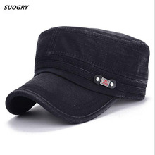 Brand SUOGRY 2018 Vintage Military Hats Cotton Unisex Men Women Flat Top Cap Solid Color Summer Autumn Spring Visor Hat