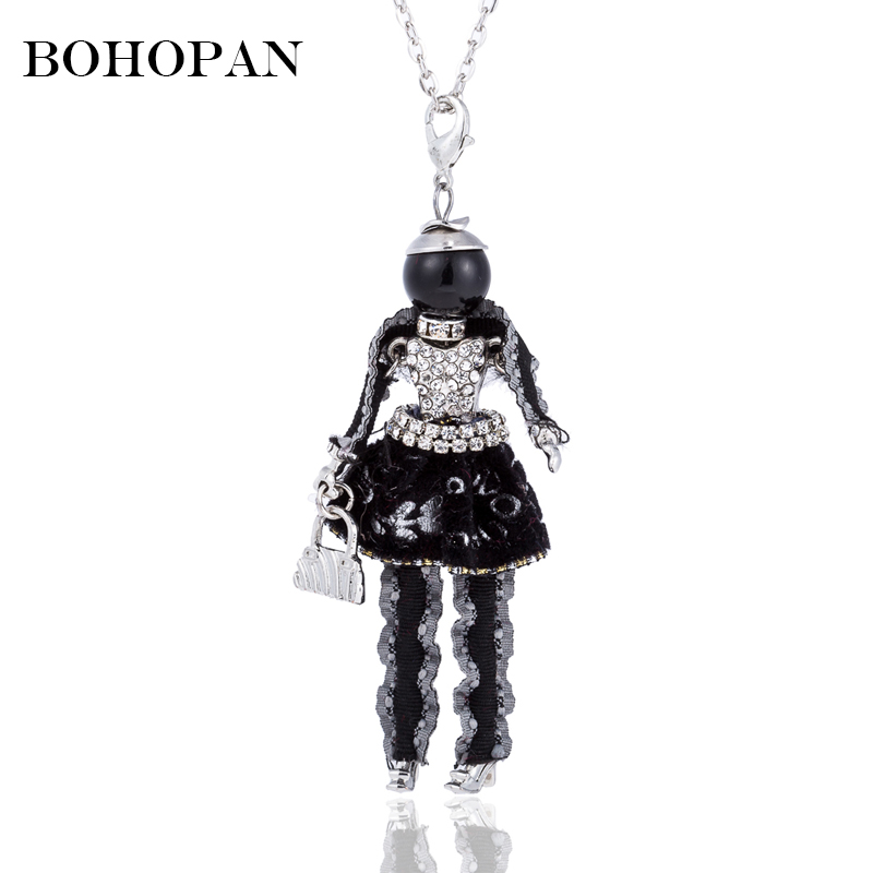 Us 299 31 Offblack Lace Dress Girl Pendants Necklace Long Silver Chain Zircon Bag Necklaces Fashion Women Jewelry 2018 Female Bijoux Gifts In