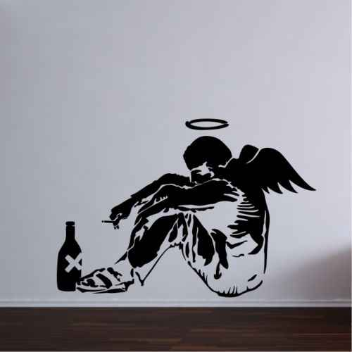 Banksy Fallen Angel Wall Art Sticker Decal Mural Bedroom Large Vinyl Graffiti home decor  living room decoration accessories