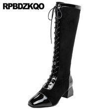 c78b1472aaa patent leather genuine brand women winter boots sheepskin ladies long lace  up shoes chunky faux fur square toe black knee high