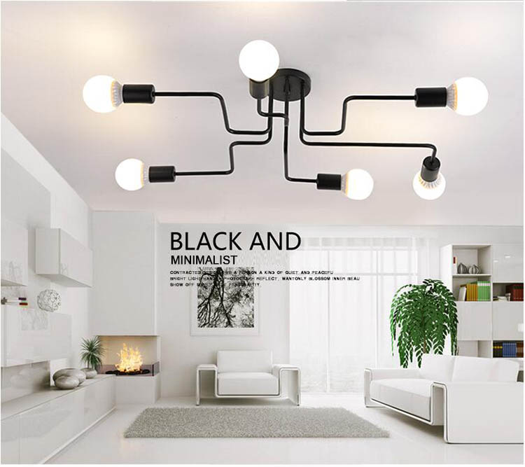 Dropshipping Multiple Rod Wrought Iron Ceiling Lights Nordic Vintage Industrial Loft Ceiling Lamps for Home Lighting Fixtures