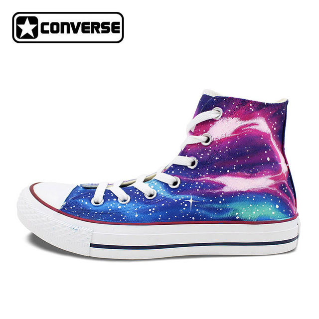 High Top Converse All Star Shoes Blue Purple Nebula Galaxy Custom Design  Hand Painted Canvas Shoes
