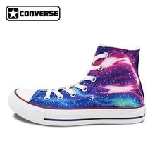 c8ed4cd805 High Top Converse All Star Blue Purple Nebula Galaxy Custom Design Hand  Painted Men