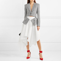 Runway Designer Women Formal Jacket Dress Women two Piece Patckwork Elegant 2018 Autumn Irregular Party Dress Clothing