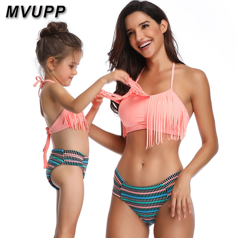 mother daughter swimsuit family matching outfits mommy and me look clothes swimwear tassel striped bikini mama baby high waist