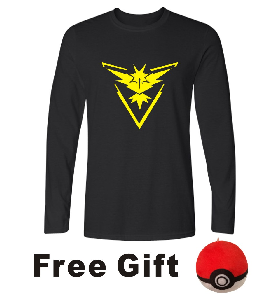 Cartoon Pokemon Go Game Long Sleeve T Shirt Men Casual T-shirts, Pokemongo Men TShirt Brand Famous of Tee Shirt 4XL XXL