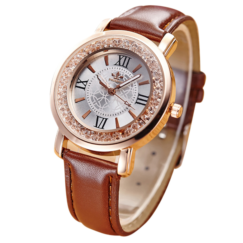Ladies Woman Watches New Fashion Quartz Rhinestone Leather Casual Buckle Water Resistant 3Bar Round Watch in Seven Colour