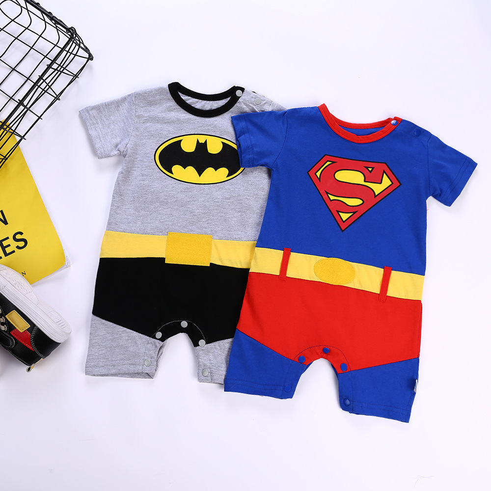 Pure Cotton Infant Boy Super Hero Costume Dropshipping Baby Clothes   Rompers   Short Sleeved Superman Batman Jumpsuit Cape Clothing