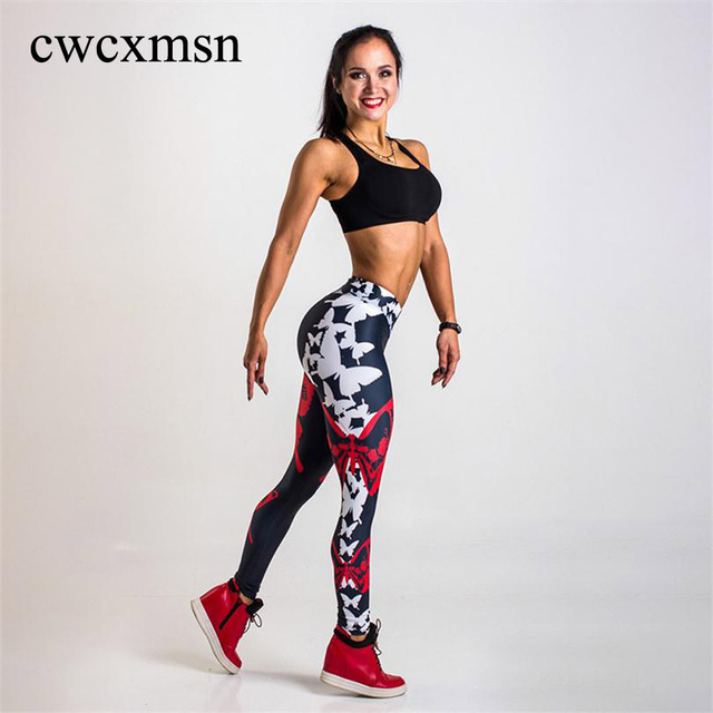 Printed Leggings Women Butterflies Digital Print Workout Leggings Black High Waist Pants Trousers