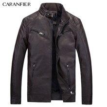 CARANFIER New  Male leather Jacket Biker Men Jacket Punk Motorcycle Bomber Simple PU Leisure Mens Faux Fur Coats  M L XL 2XL 3XL
