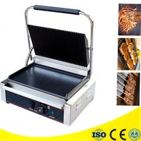 220V 3000W Electric Griddle Grill Non Stick Commercial Single Plate Steak Sandwich Toaster Machine Electric Contact