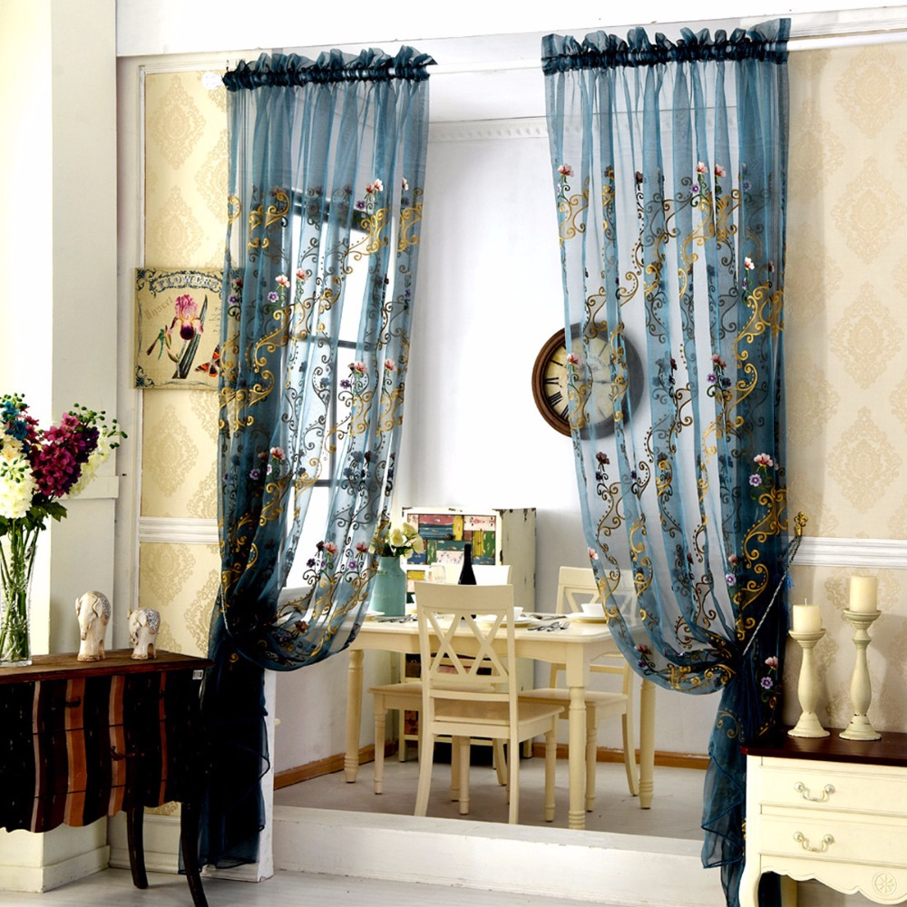 US $9.05 43% OFF|White Embroidered Curtains Sheer Curtains for Living Room  blue curtains red curtains Shade Tulle fabric for the bedroom wp047D-in ...