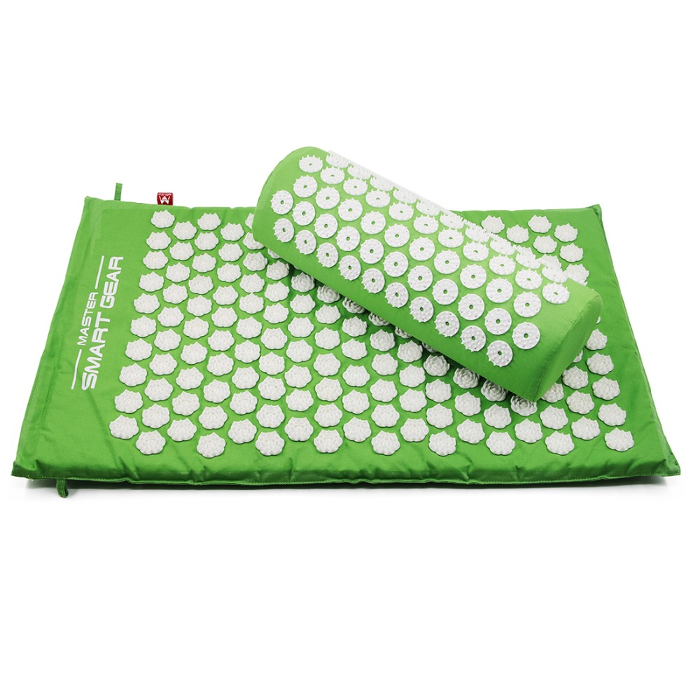 Yoga Lotus Spike Acupressure Mat Pillow Set Back Body Massager Akupunktur Pude Mat Relieve Stress Spænding Smerte m / Carry Bag