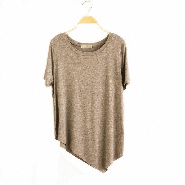 2020 marque femmes irrégulière coton T-shirt, grande taille XS-4XL 5XL 6XL solide basique T-shirt femme hauts noir blanc bleu rouge rose gris