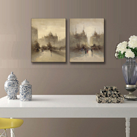 2 Pcs/Set Retro Landscape Abstract Streetscape Canvas Printed Painting Artist Vintage Yellow Wall Picture Home decor