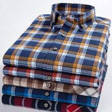 Men Long Sleeve Shirt Dress Pure Cotton Plaid High Quality Business Mens Shirts Casual Slim Fit