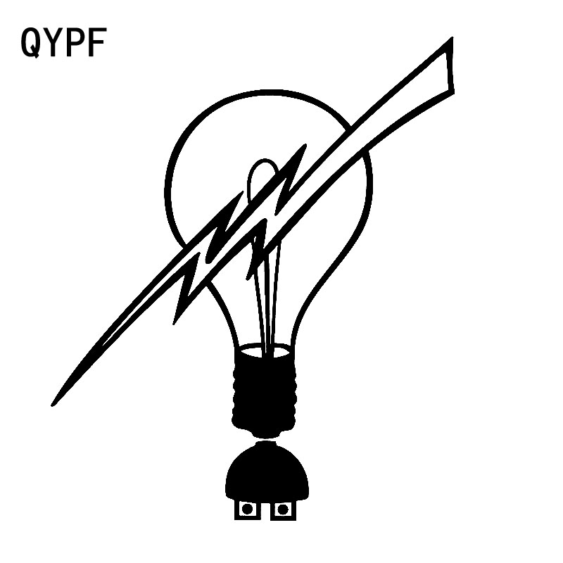 QYPF 14.7cm*17.1cm Vivid Simple Light Bulb Is Shattered By Lightning Electric New Tide Vinyl Car Sticker Lifelike Decal C18-0949