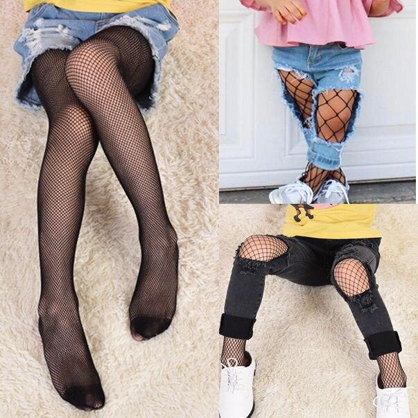 455e8332a Medias de red de malla pequeñas negras grandes y negras para niñas ...