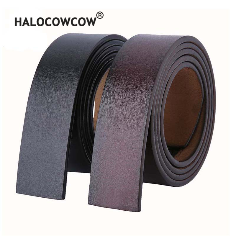 140 150 160cm Belts No Buckle 3.5cm Wide Cowskin Real Genuine Leather Belt Body Men Large Size Belt Without Buckle Strap Brown