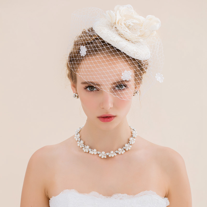 White Vintage Lace Cute Wedding Hair