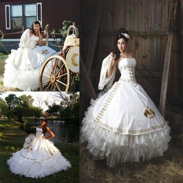9d92a734990 Romantic White Quinceanera Dresses 2016 Gold Embroidery Strapless Debutante  Party Ball Gown 16 Girl Dresses Masquerade Dress