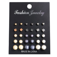 ZIIME 15 Pairs/set Imitation White Gray Pearl Stud Earring Set for Women Trendy Bling Crystal Piercing Ball Earring Kit Brincos(China)
