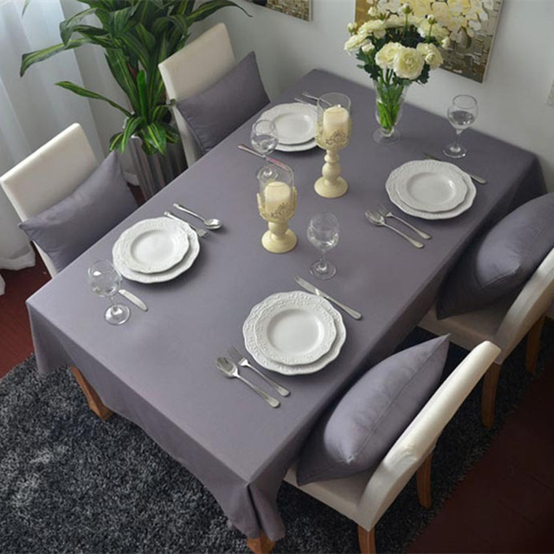 Free Shipping Modern Gray Dustproof Tablecloths European Style Nice Quality  For Weddings Hotel Kitchen Rectangle Table