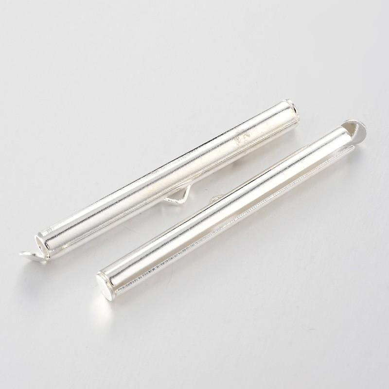300pcs Brass Slide On End Clasp Tubes Slider End Caps Metal Jewelry Findings Silver Antique Bronze