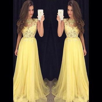 Beauty Candy Color Chiffon Boat Neck Long Prom Dresses 2020 Lace Ribbons Sleeveless A Line Floor Length Prom Dress HFY121901
