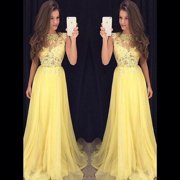 Beauty Candy Color Chiffon Boat Neck Long   Prom     Dresses   2019 Lace Ribbons Sleeveless A Line Floor Length   Prom     Dress   HFY121901