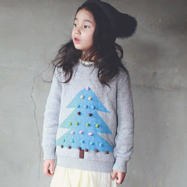 Дети зимой свитер 2016 новых детей кардиган мультфильм chirstmas дерево отпечатано зима пуловеры девушки сгустите теплый девушки свитер 2-9 Т