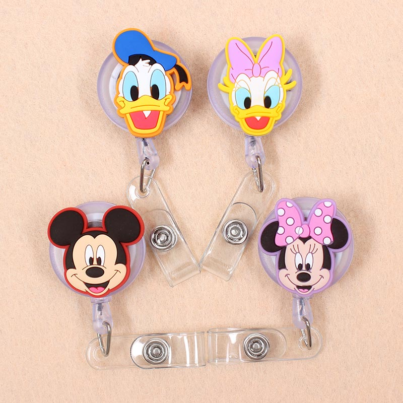 Cartoon 60cm Silicone Small Size Mickey Animals Retractable Badge Reel Student Nurse Exhibition Enfermera Name Card Chest