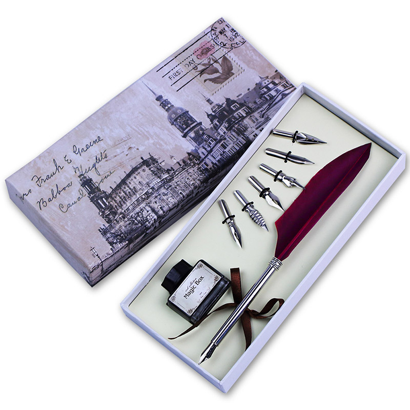Feather quill pen set calligraphy writing pen mini dip pen Calligraphy writing set