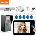 """7"""" Wireless Video Door Phone Doorbell Intercom Kits with Electronic Strike Lock Code/ID Card /Wireless Remote/ Exit Button"""