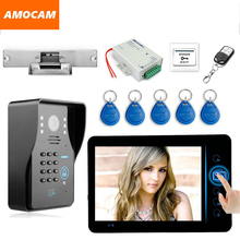 "7"" Wireless Video Door Phone Doorbell Intercom Kits with Electronic Strike Lock Code/ID Card /Wireless Remote/ Exit Button"
