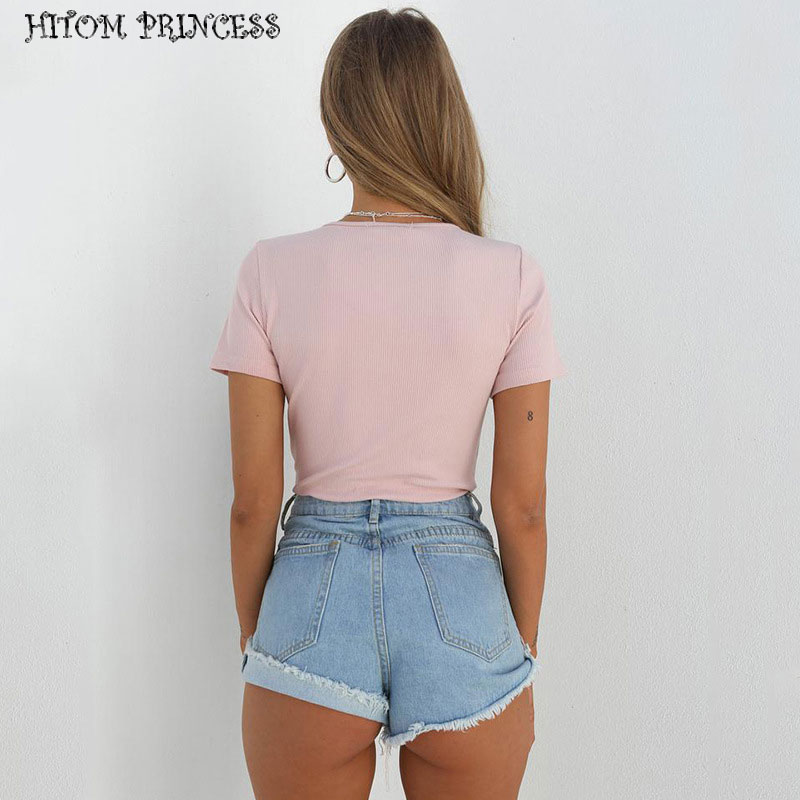 HITOM PRINCESS Summer Button Skinny Bodysuit Women Jumpsuit Sexy Bodysuit Female Overalls Short Sleeve Romper Playsuit Coveralls