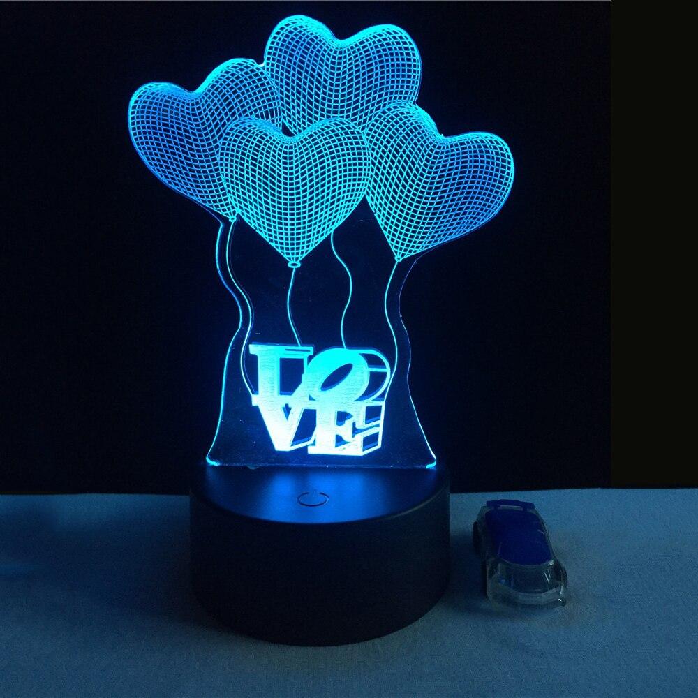 3D Visuelle Birne Optische Täuschung Bunte LED Tischleuchte Touch Romantischen Urlaub Nachtlicht Liebe Herz Hochzeit Kinder geschenke P25