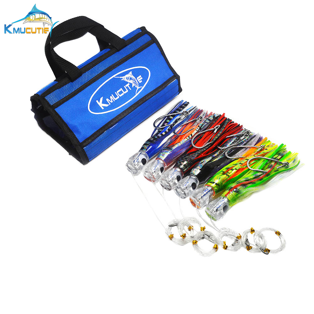 6pcs 9 inch Rigged Marlin lures with mesh bag Tuna Kingfish Big Game Octopus skirt Lures Ocean Boat Trolling fishing Lures|trolling lure|lures trolling|marlin lures - title=