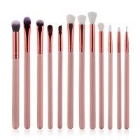 New Hot 12 Pcs Blending Pencil Foundation Eye Shadow Makeup Brushes Rose Golden Eyeshadow Eyeliner Brush