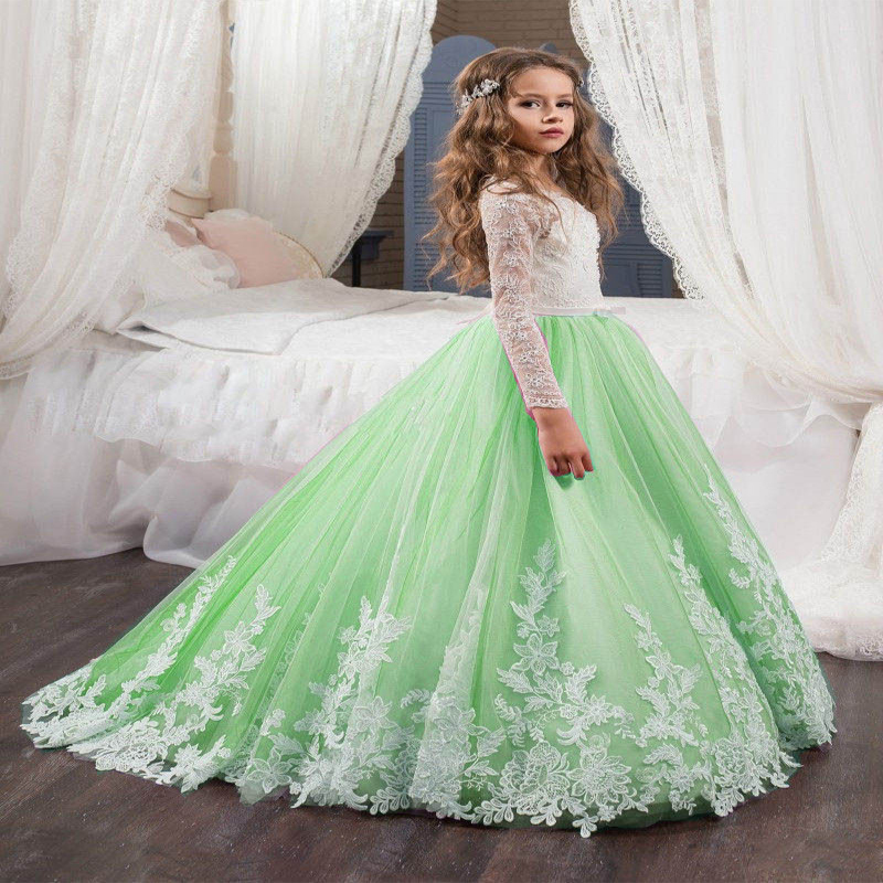 Rustic Flower Girl Dresses Formal Ball Gown Party Wedding Birthday Long Sleeve Mother Daughter Dresses Pageant Dress lace flower girl dress birthday ball gown wedding party holiday bridesmaid long pageant dresses for girl mother daughter dresses