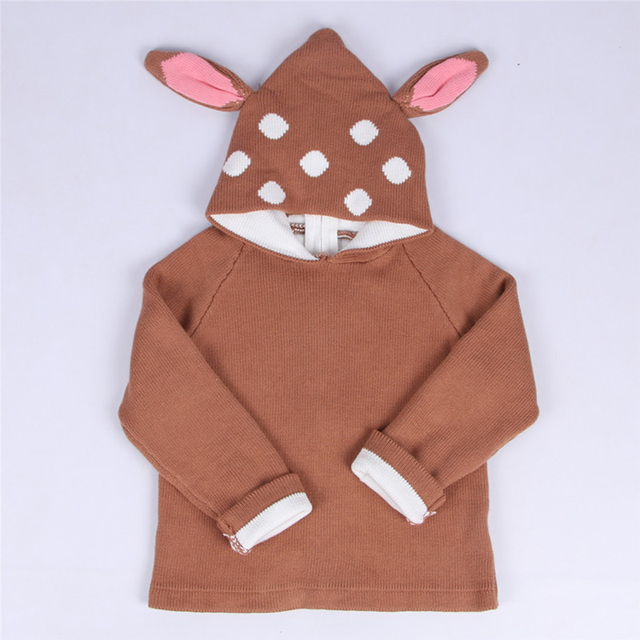 Autumn and winter children baby girl lovely deer ear 100% cotton children hooded warm sweater knitting cardigan sweater
