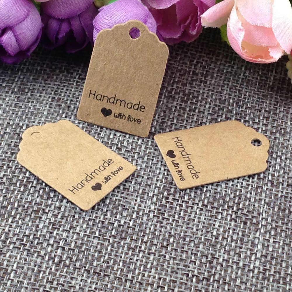 Dimensioni: 3x2 cm kraft tags 100 Pz/lotto hand made with love kraft Tag per confezione regalo e Carte di Carta Regalo FAI DA TE Tag per Handmade torta