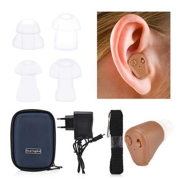 Aparat słuchowy akumulator Mini niewidoczny wzmacniacz dźwięku regulacja głośności bezprzewodowe aparaty słuchowe dla osób starszych głuchy Axon K-88 tanie i dobre opinie Hailicare 10399 Hearing Aid Hearing Aids Sound Amplifier Rechargeable