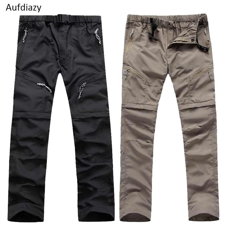 Aufdiazy Summer Men's Quick Dry Removable Hiking Pants Outdoor Sport Breathable Trousers Camping Trekking Fishing Shorts JM009