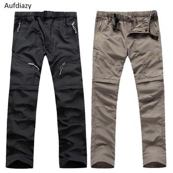 Pantalon de randonnée amovible à séchage rapide pour hommes Aufdiazy Summer Sport de plein air pantalon respirant Camping Trekking Shorts de pêche JM009